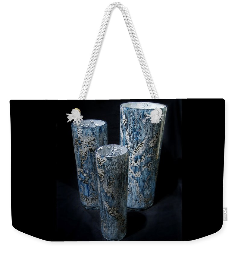 Blue Weekender Tote Bag featuring the mixed media Three Blue Cylinders by Christopher Schranck