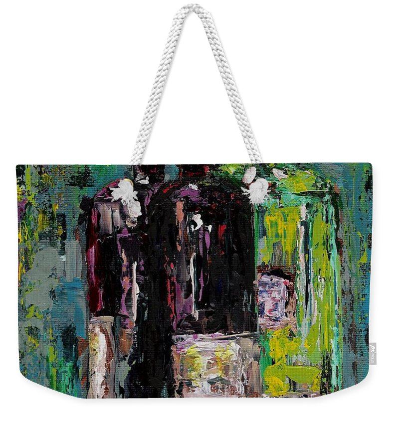 Wine Weekender Tote Bag featuring the painting Three Bottles Of Wine by Frances Marino