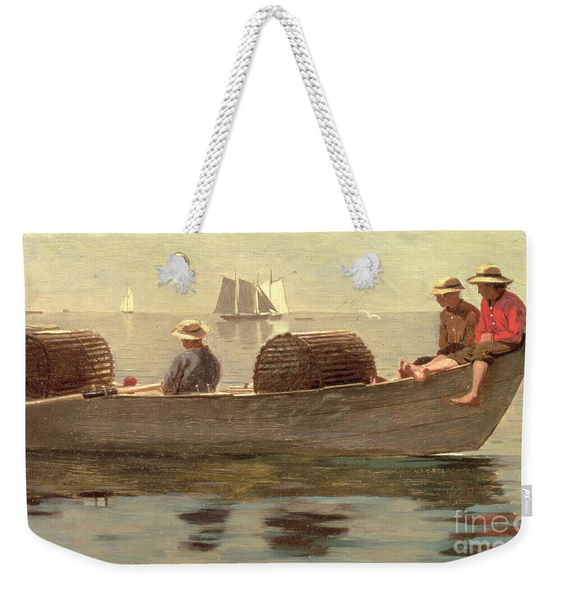 Boat Weekender Tote Bag featuring the painting Three Boys In A Dory by Winslow Homer