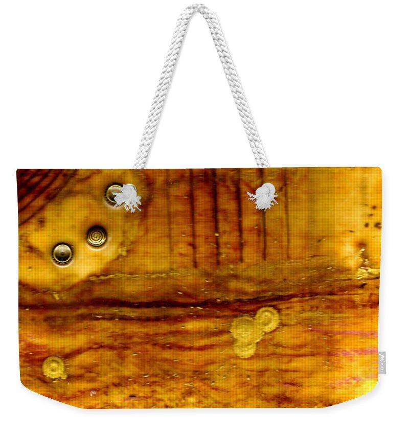 Wood Weekender Tote Bag featuring the mixed media Three Brass Rings II by Angela L Walker