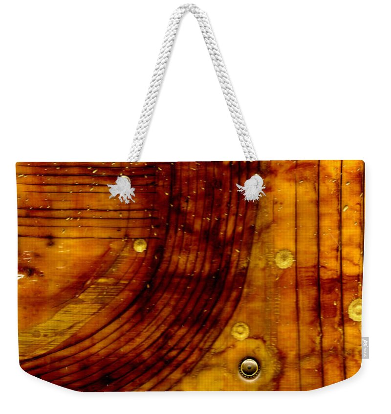 Wood Weekender Tote Bag featuring the mixed media Three Brass Tokens I by Angela L Walker