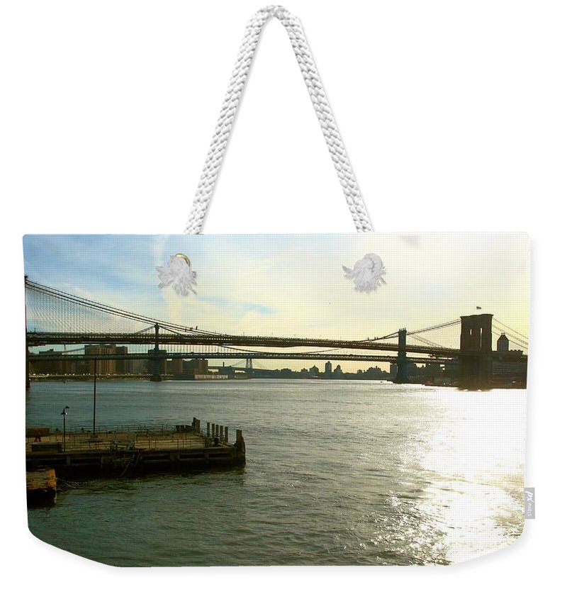 East River Weekender Tote Bag featuring the photograph Three Bridges by Robert McCulloch