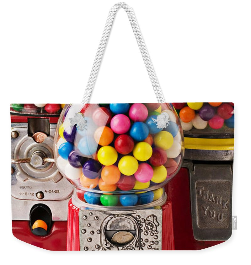 Gum; Bubble Gum; Machine; Vendor; Old Fashion; Antique Weekender Tote Bag featuring the photograph Three Bubble Gum Machines by Garry Gay