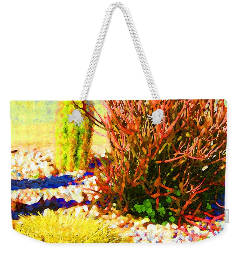 Landscape Weekender Tote Bag featuring the painting Three Cacti by Amy Vangsgard