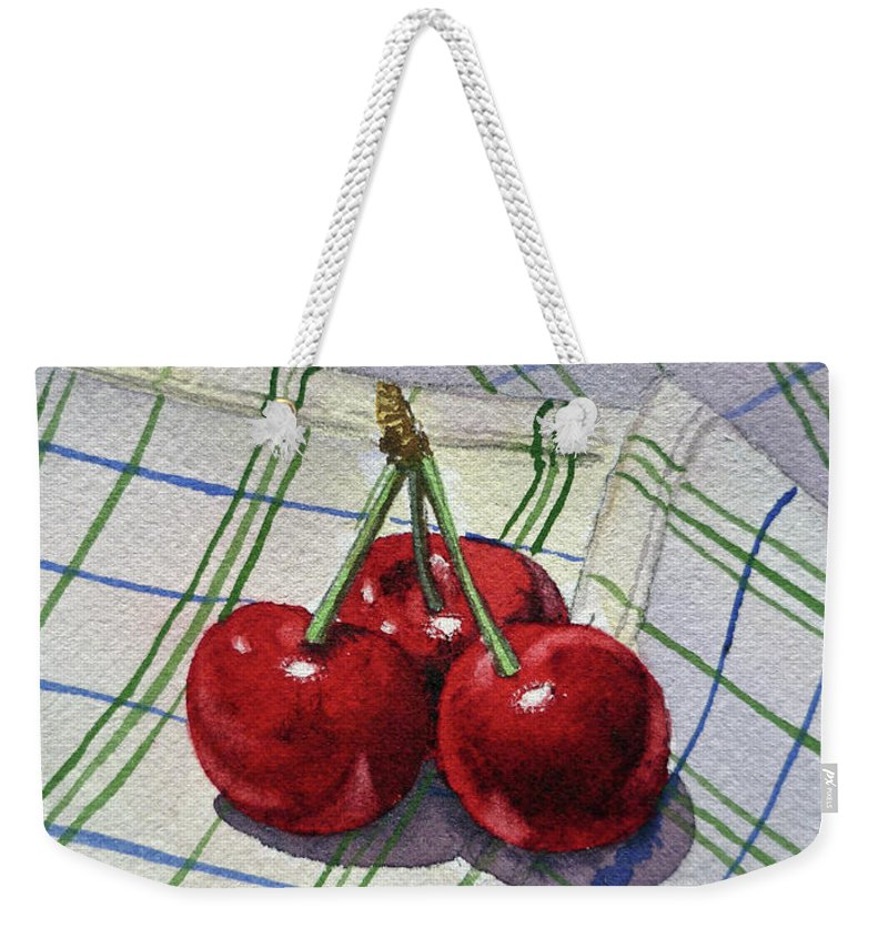 Watercolor Paintings Weekender Tote Bag featuring the painting Three Sweet Cherries By Irina Sztukowski by Irina Sztukowski