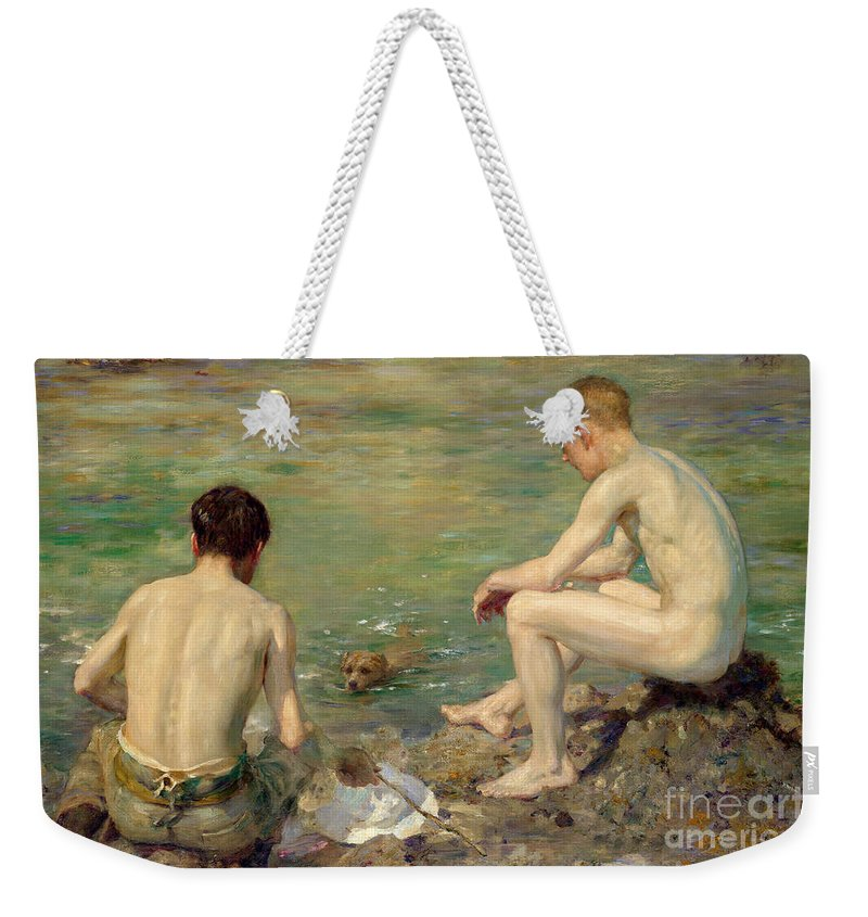 Bal13741 Weekender Tote Bag featuring the painting Three Companions by Henry Scott Tuke