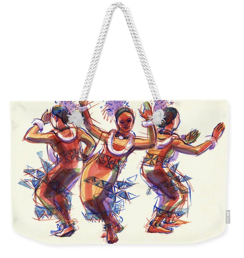 Dancers Weekender Tote Bag featuring the painting Three Dancers Of Tongatapu by Judith Kunzle
