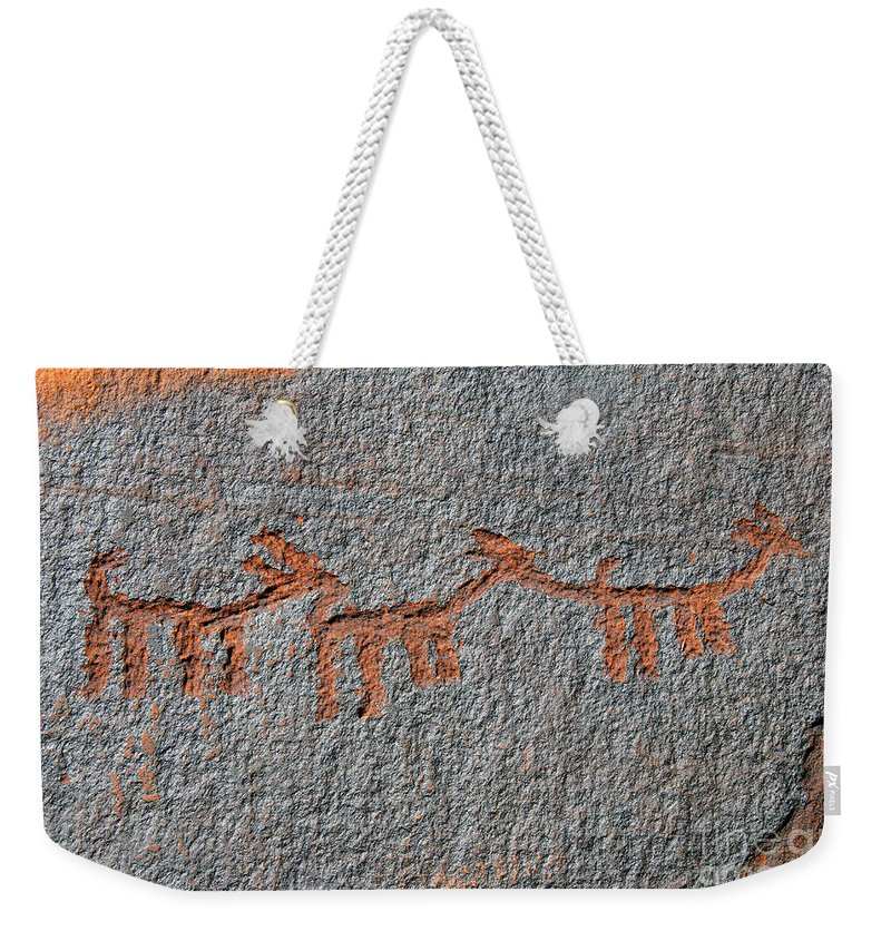 Petroglyphs Weekender Tote Bag featuring the photograph Three Deer by David Lee Thompson