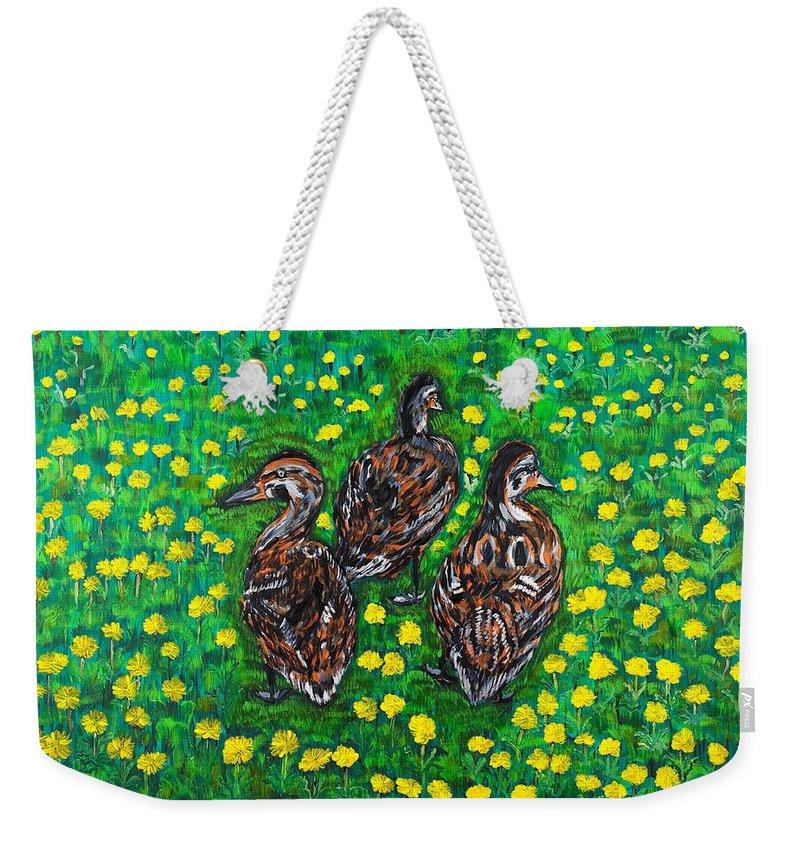 Bird Weekender Tote Bag featuring the painting Three Ducklings by Valerie Ornstein