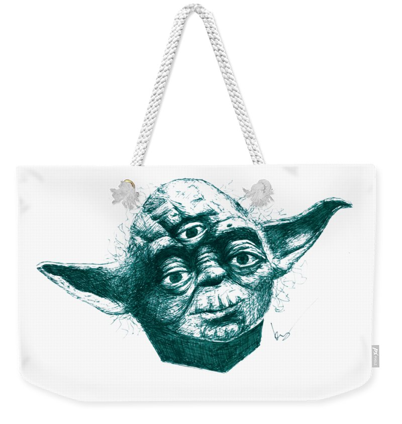 Star Wars Weekender Tote Bag featuring the drawing Three Eyed Yoda by Kenny Noorlander