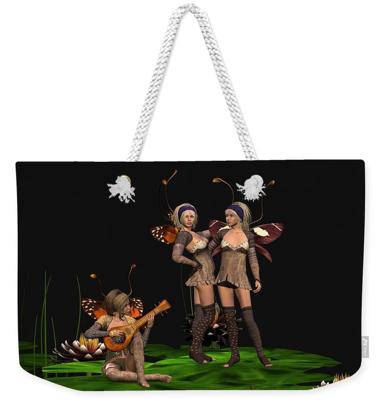 Fanasty Weekender Tote Bag featuring the digital art Three Fairies At A Pond by John Junek