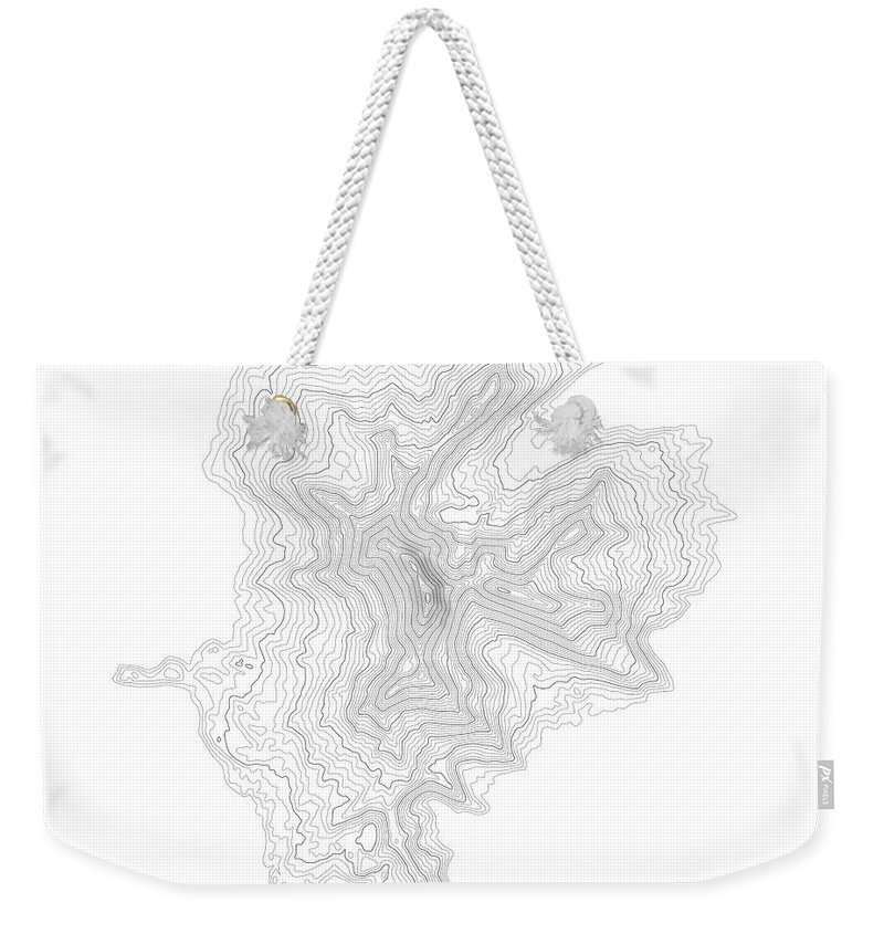 Topo Weekender Tote Bag featuring the digital art Three Fingered Jack Contour In Black by Jurq Studio