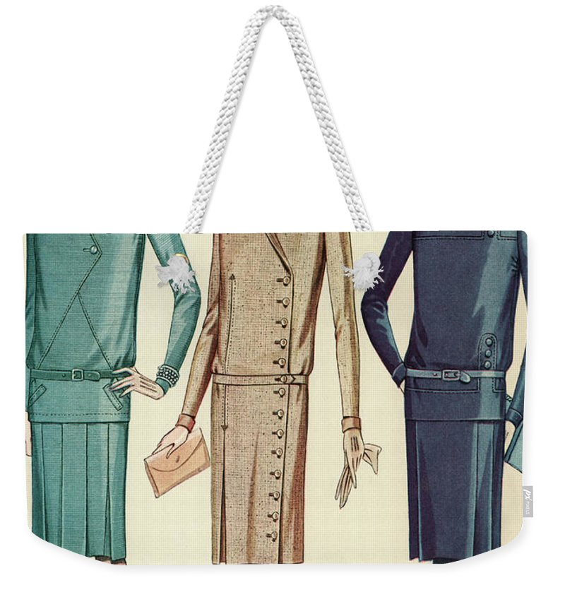 Flapper Weekender Tote Bag featuring the painting Three Flappers Modelling French Designer Outfits, 1928 by American School