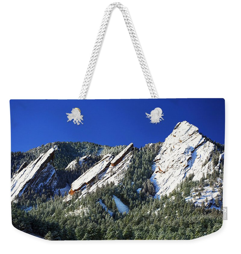 Colorado Weekender Tote Bag featuring the photograph Three Flatirons by Marilyn Hunt
