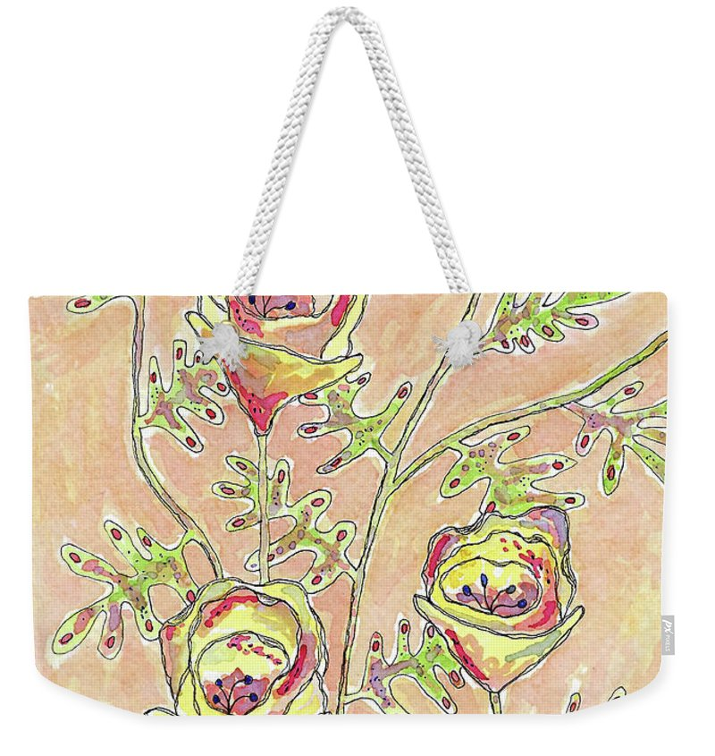 Watercolor And Ink Weekender Tote Bag featuring the photograph Three Flowers by Susan Campbell
