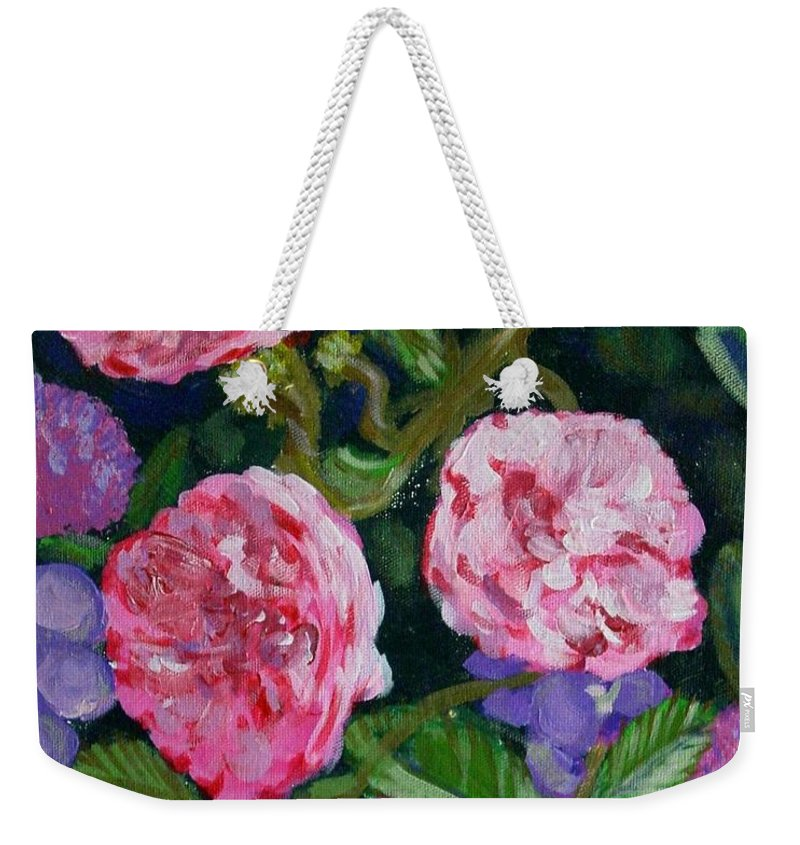 Roses Weekender Tote Bag featuring the painting Three For The Show by Laurie Morgan