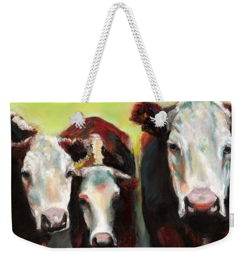 Cows Weekender Tote Bag featuring the painting Three Generations Of Moo by Frances Marino