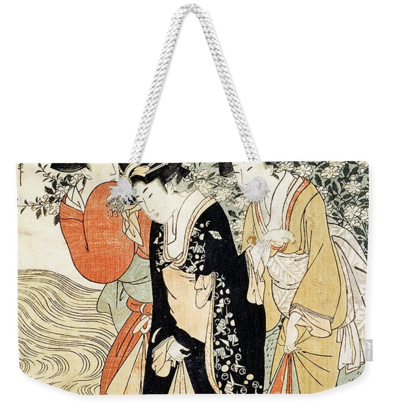 Three Girls Paddling In A River Weekender Tote Bag featuring the painting Three Girls Paddling In A River by Kitagawa Utamaro
