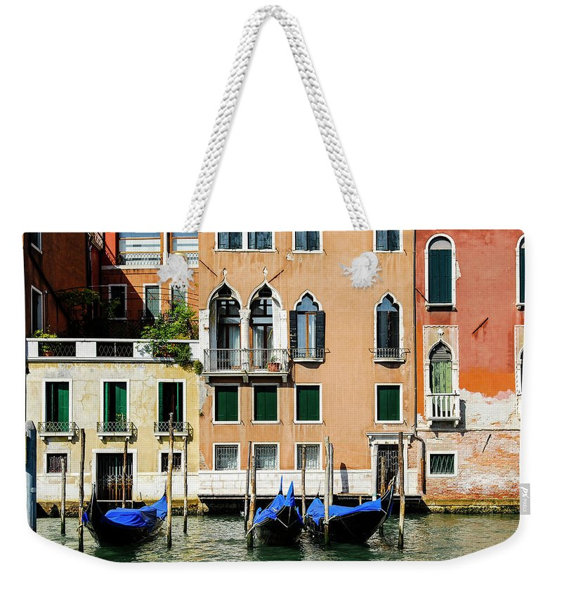 Venice Weekender Tote Bag featuring the photograph Three Gondolas by Mike Valdez