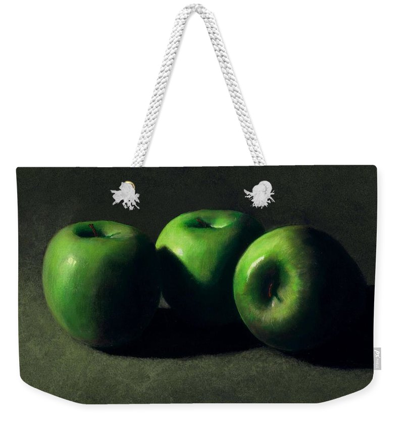 Still Life Weekender Tote Bag featuring the painting Three Green Apples by Frank Wilson