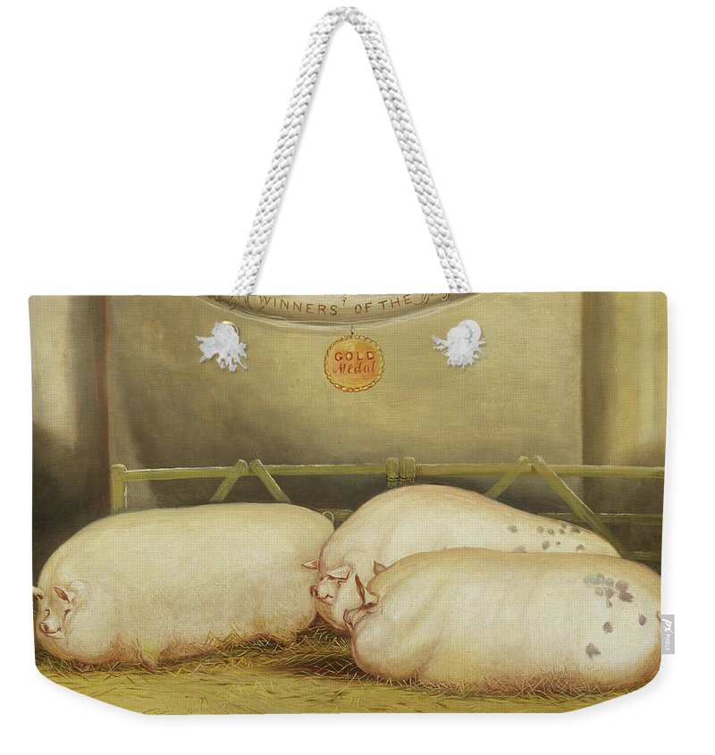 Pig Weekender Tote Bag featuring the painting Three Improved Leicesters In A Pen At 1858 Smithfield Club Christmas Show by John Vine
