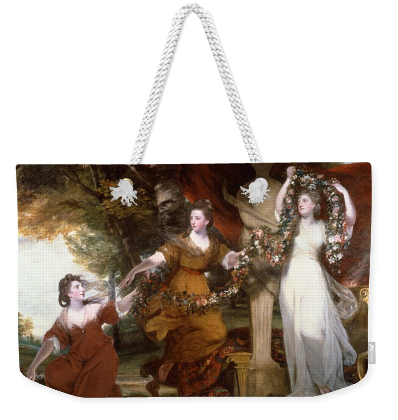 18th Century Art Weekender Tote Bag featuring the painting Three Ladies Adorning A Term Of Hymen by Joshua Reynolds