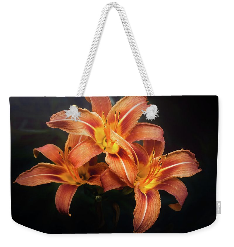 Lily Weekender Tote Bag featuring the photograph Three Lilies by Scott Norris