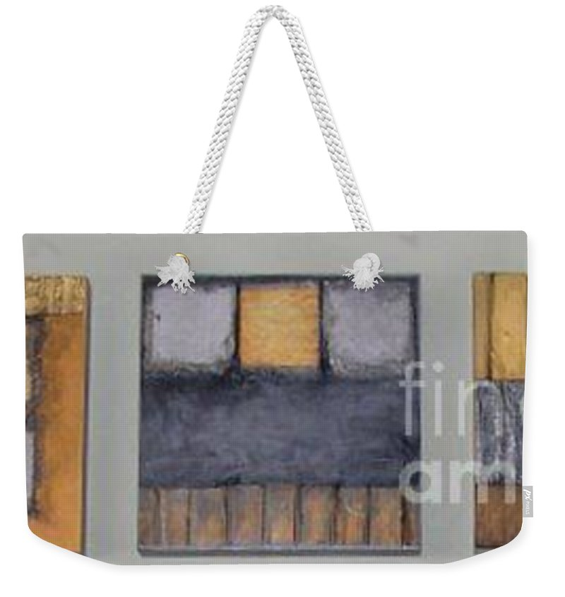 Metallic Weekender Tote Bag featuring the mixed media Three Little Bigs by Marlene Burns