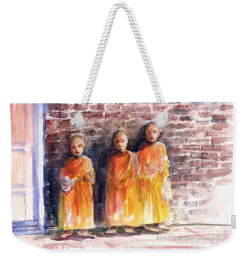Three Little Monks May 2017 Weekender Tote Bag featuring the painting Three Little Monks by Asha Sudhaker Shenoy