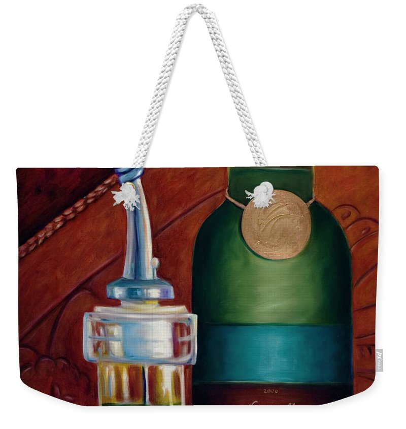 Olive Oil Weekender Tote Bag featuring the painting Three Million Net by Shannon Grissom