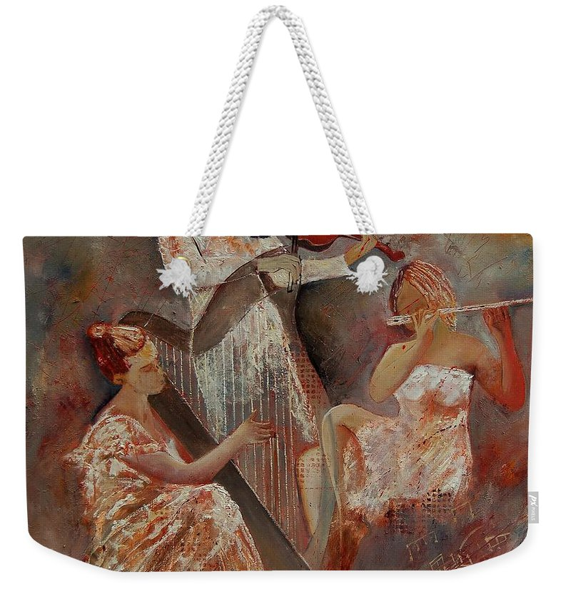 Music Weekender Tote Bag featuring the painting Three Musicians by Pol Ledent