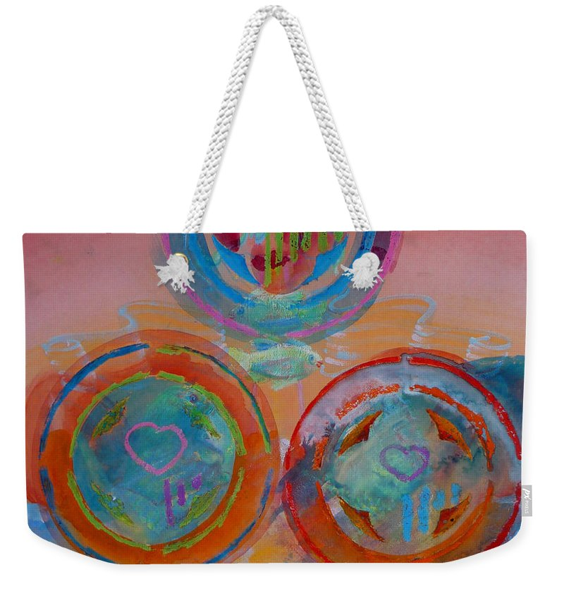 Logo Weekender Tote Bag featuring the painting Three On Marine by Charles Stuart