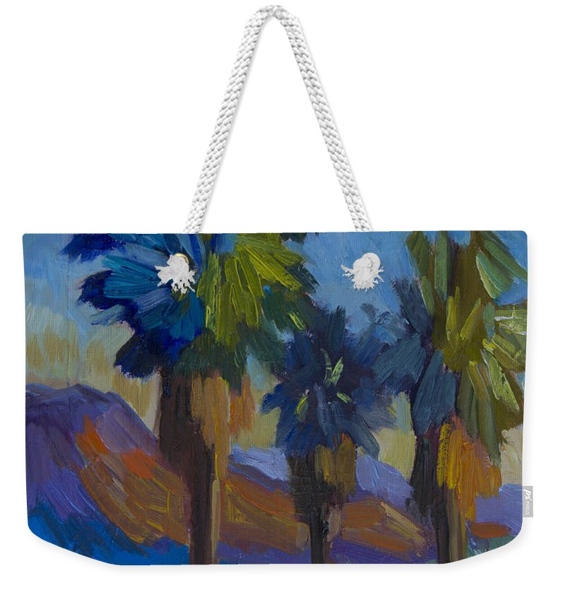 Palm Springs Weekender Tote Bag featuring the painting Three Palms At Palm Desert by Diane McClary