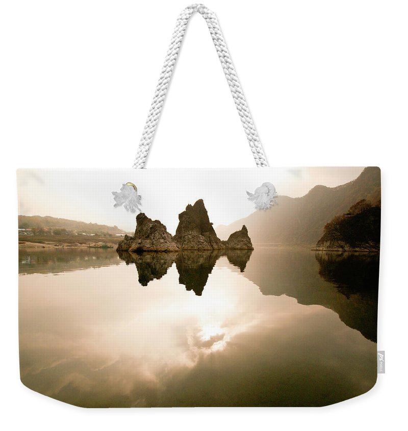 Asia Weekender Tote Bag featuring the photograph Three Peaks by Michele Burgess