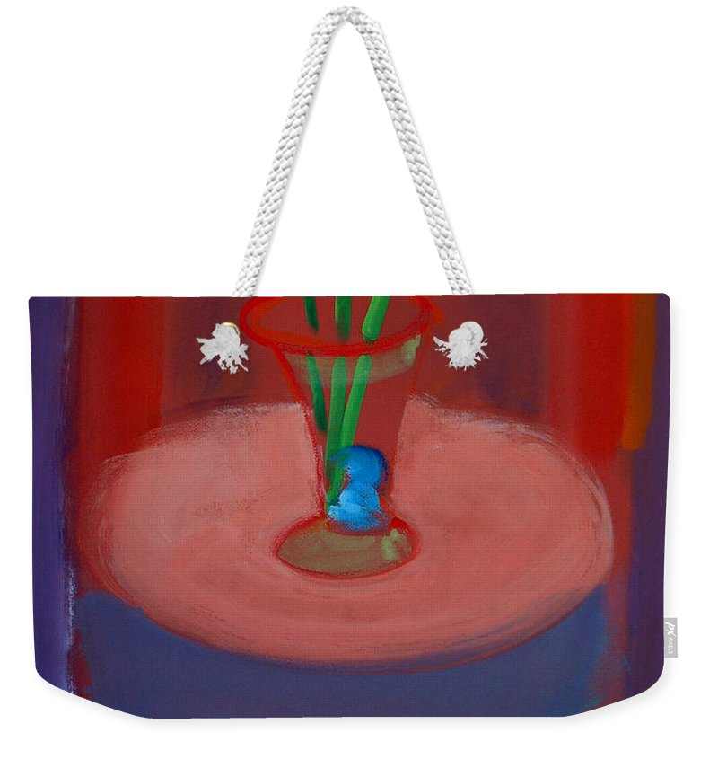 Poppies Weekender Tote Bag featuring the painting Three Poppies In A Vase by Charles Stuart