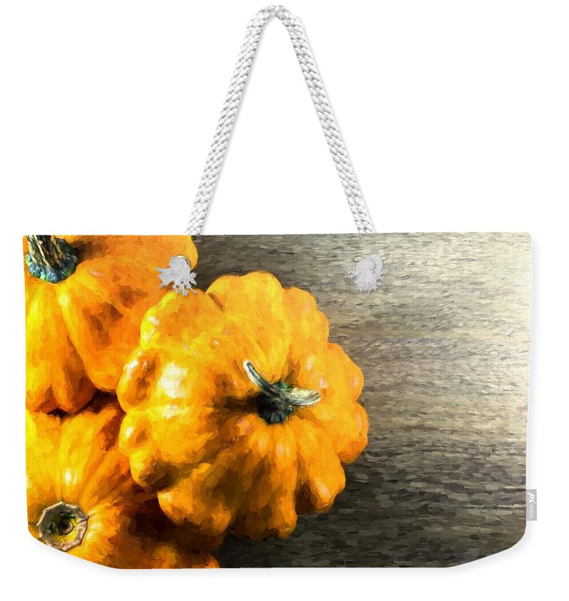 Miniature Weekender Tote Bag featuring the photograph Three Pumpkins On Wood by John Williams