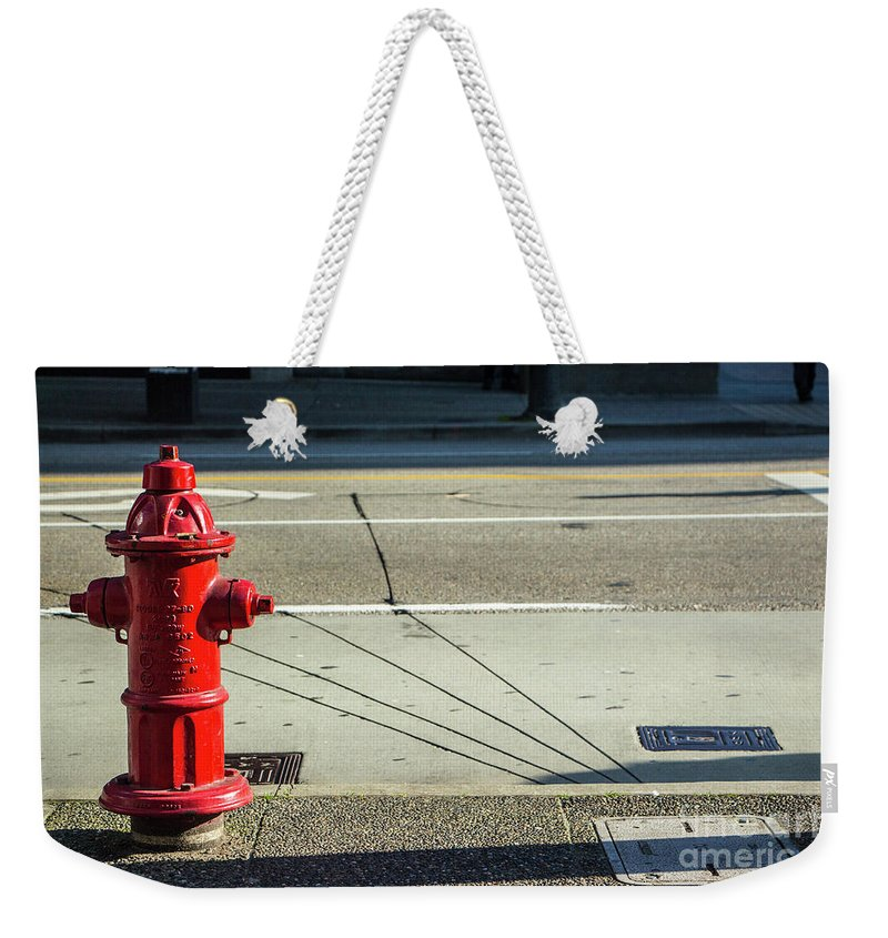 2015 Weekender Tote Bag featuring the photograph Three Red Lines by Dorothy Hilde