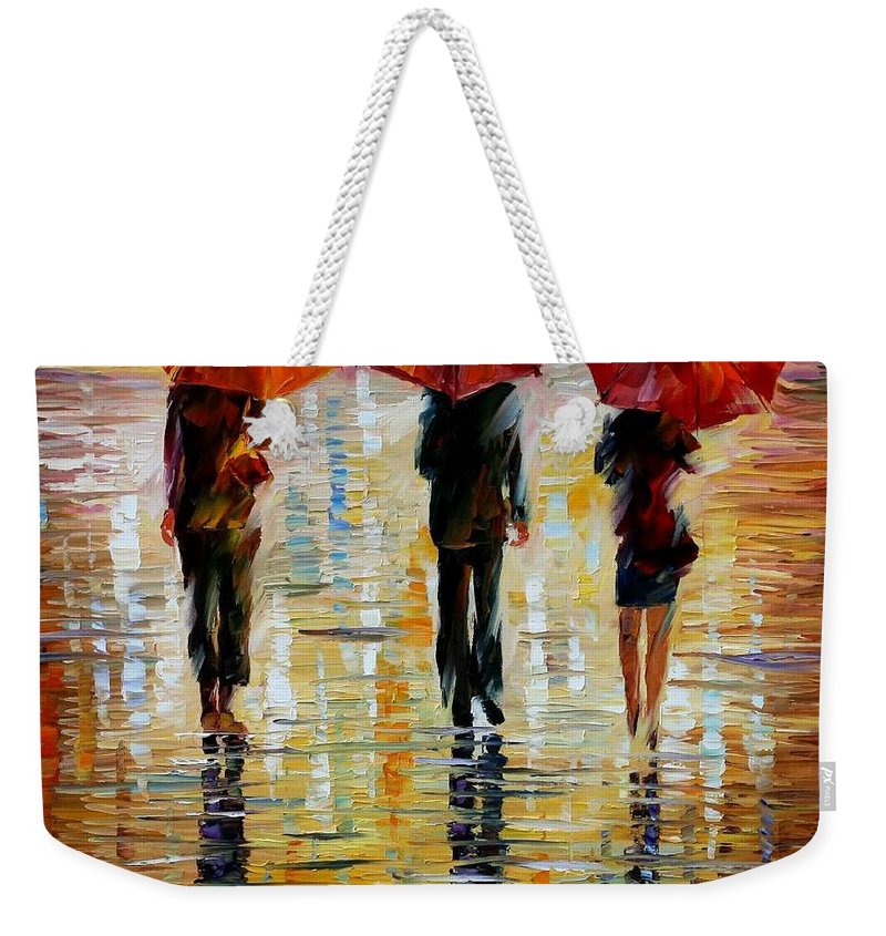 Cityscape Weekender Tote Bag featuring the painting Three Red Umbrella by Leonid Afremov