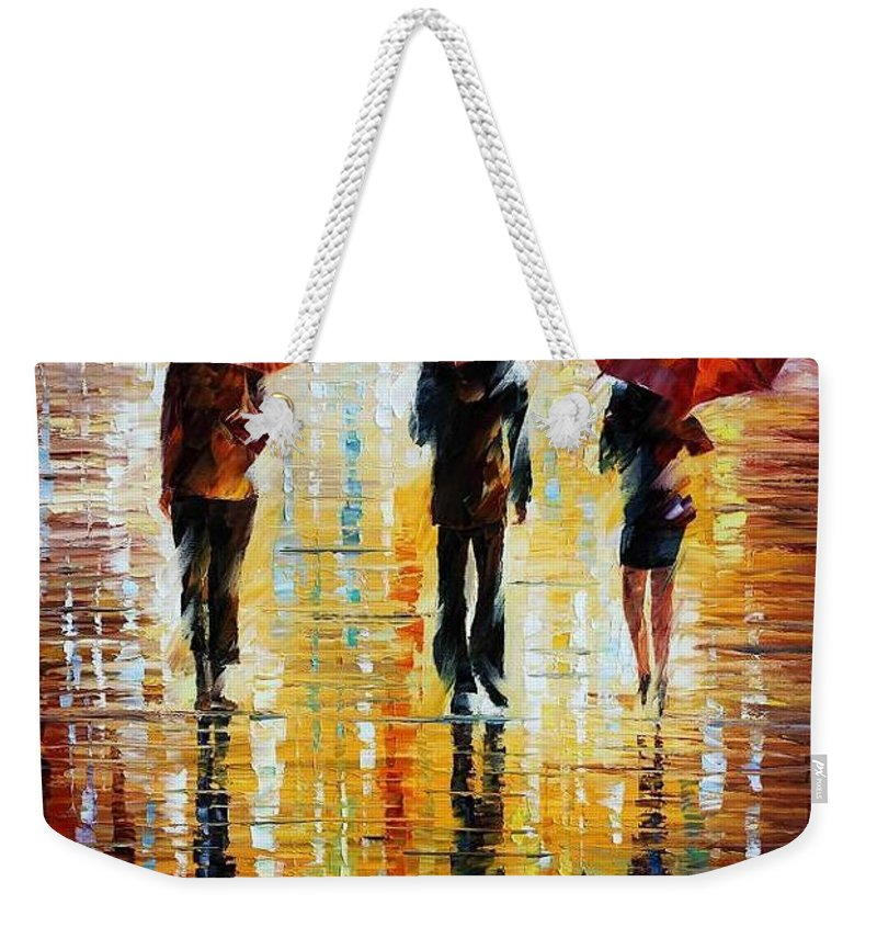 Afremov Weekender Tote Bag featuring the painting Three Red Umbrellas by Leonid Afremov