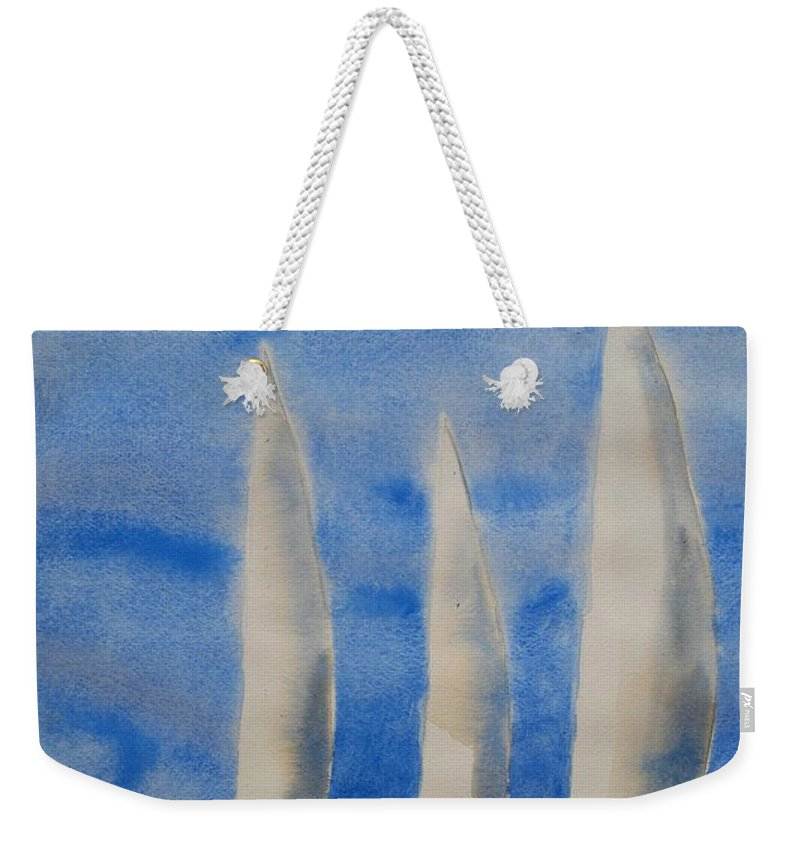 Boat Weekender Tote Bag featuring the painting Three Sails by Patricia Caldwell