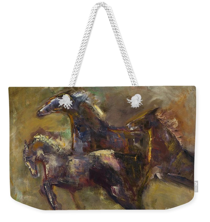 Horses Weekender Tote Bag featuring the painting Three Set Free by Frances Marino