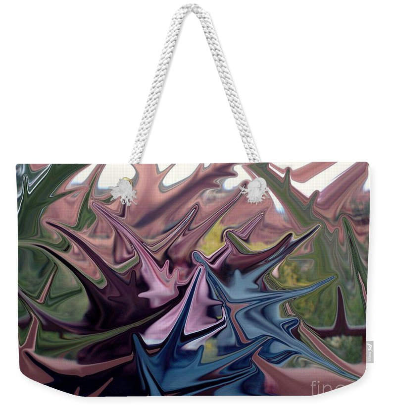 Digital Art Weekender Tote Bag featuring the digital art Three Sisters In Sedona by Ron Bissett