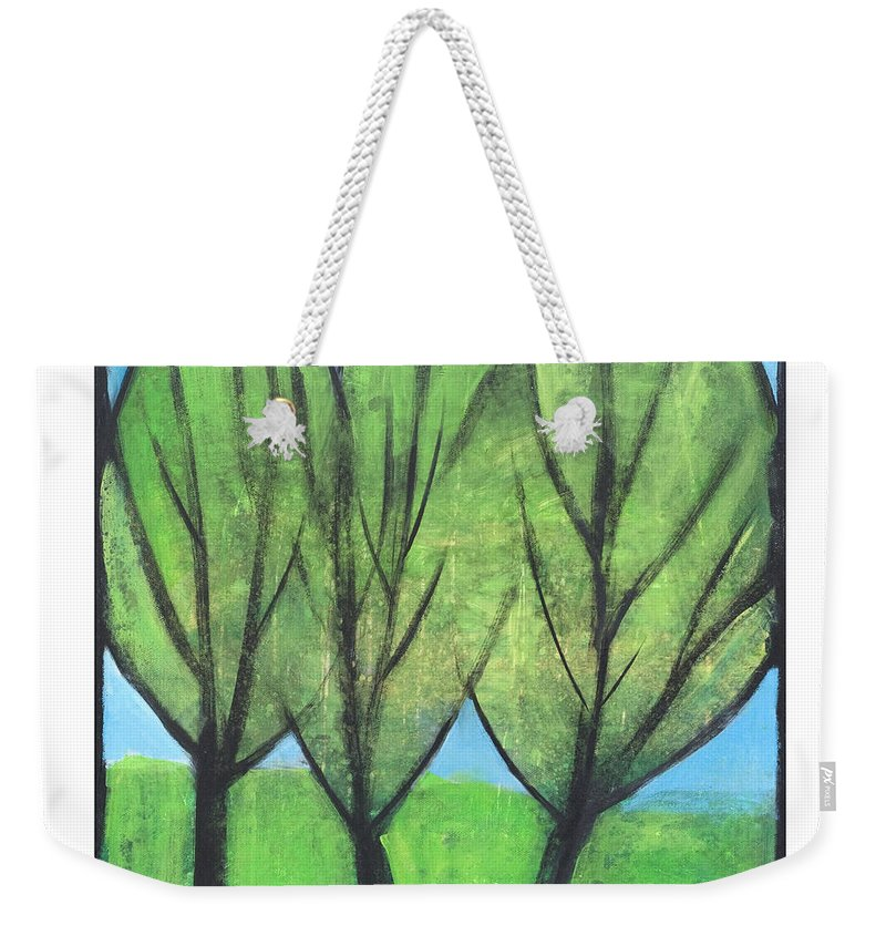 Trees Weekender Tote Bag featuring the painting Three Sisters by Tim Nyberg