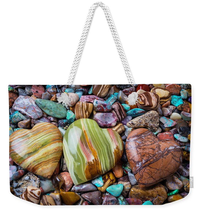 Stone Weekender Tote Bag featuring the photograph Three Stone Hearts by Garry Gay