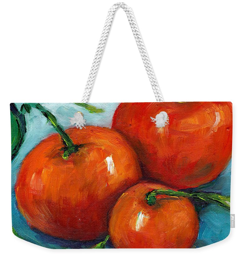 Still Life Weekender Tote Bag featuring the painting Three Tangerines Still Life Grace Venditti Montreal Art by Grace Venditti