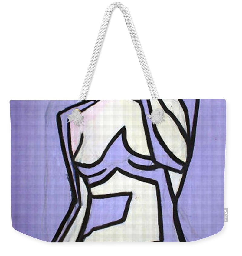 Nudes Weekender Tote Bag featuring the painting Three by Thomas Valentine