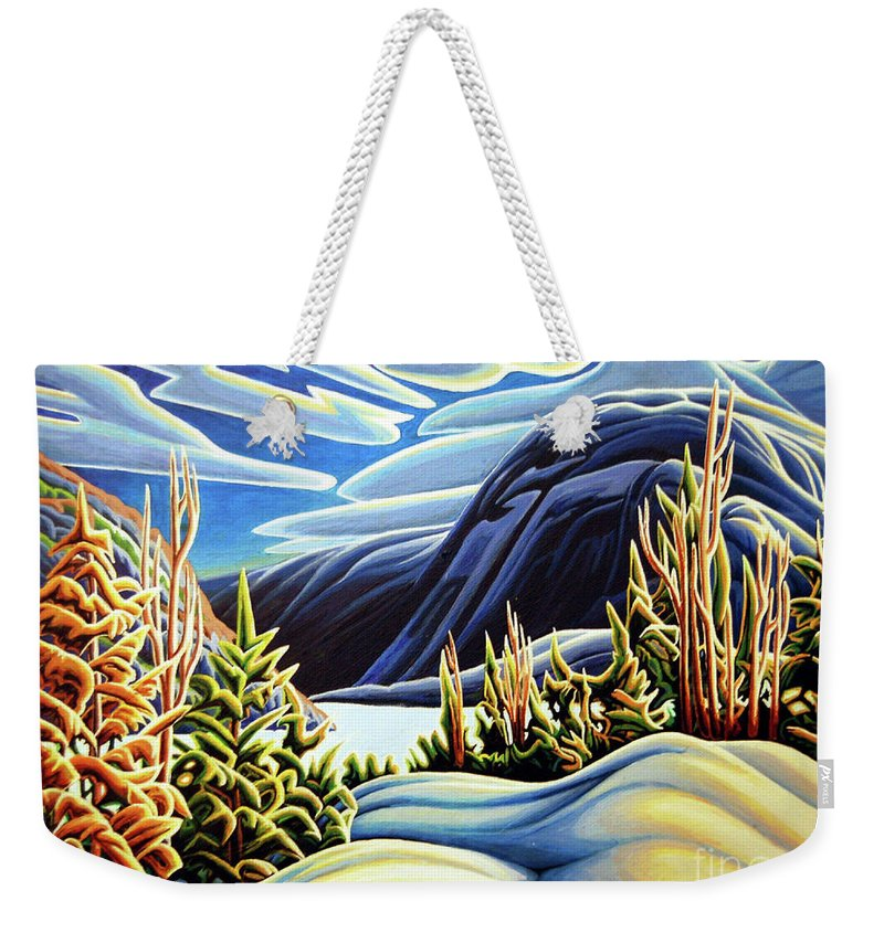 Three Valley Gap Weekender Tote Bag featuring the painting Three Valley Gap by Robert Davies