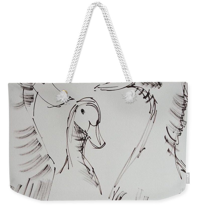White Duck Weekender Tote Bag featuring the drawing Three White Ducks Drawing by Mike Jory
