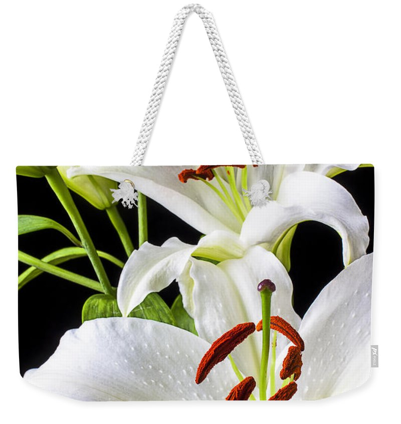 White Tiger Lily Weekender Tote Bag featuring the photograph Three White Lilies by Garry Gay