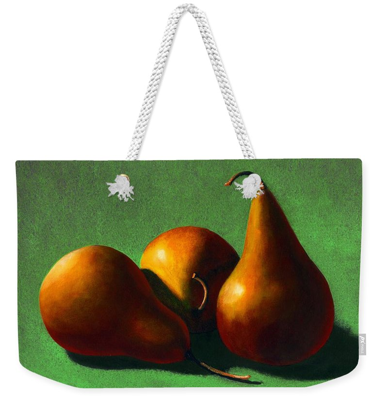Still Life Weekender Tote Bag featuring the painting Three Yellow Pears by Frank Wilson